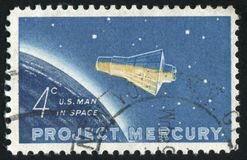 Postage stamp. UNITED STATES - CIRCA 1962: stamp printed by United states, First orbital flight, circa 1962 royalty free stock image