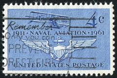 Postage stamp. UNITED STATES - CIRCA 1961: stamp printed by United states, Navy's First Plane Curtiss A-1 of 1911 and Naval Air Wings, circa 1961 stock photo