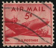 Postage stamp. UNITED STATES - CIRCA 1946: stamp printed by United states, shows airplane DC-4, circa 1946 stock image