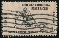 Postage stamp. UNITED STATES - CIRCA 1961: stamp printed by United states, shows  Rifleman at Shiloh, 1862, circa 1961 Royalty Free Stock Images