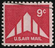 Postage stamp. UNITED STATES - CIRCA 1969: stamp printed by United states, shows Silhouette of Delta Wing Plane, circa 1969 stock image