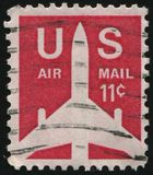 Postage stamp. UNITED STATES - CIRCA 1969: stamp printed by United states, shows Silhouette of Jet Airliner, circa 1969 royalty free stock image