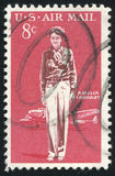 Postage stamp. UNITED STATES - CIRCA 1963: stamp printed by United states, shows Amelia Earhart Lockheed Electra, circa 1963 stock photos