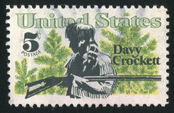 Postage stamp. UNITED STATES - CIRCA 1967: stamp printed by United states, shows Davy Crockett and Scrub Pines, circa 1967 royalty free stock photo