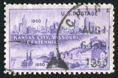Postage stamp. UNITED STATES - CIRCA 1950: stamp printed by United states, shows Kansas City, Missouri, circa 1950 stock images