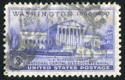 Postage stamp. UNITED STATES - CIRCA 1950: stamp printed by United states, shows Supreme Court Building, circa 1950 royalty free stock photos