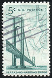 Postage stamp. UNITED STATES - CIRCA 1964: stamp printed by United states, shows Verrazano-Narrows Bridge and Map of NY Bay, circa 1964 royalty free stock photo