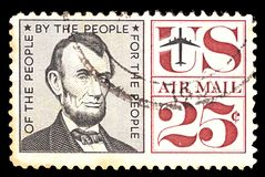 Postage stamp from USA. Airmail. With portret of president Abraham Lincoln 25 cent. ISRAEL -June 2019: Postage stamp from USA. Airmail. With portret of President stock photo