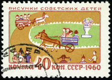 Postage stamp of the USSR - Drawings of children, 1960 stock illustration