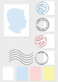 Postage stamp vector illustration set Stock Images