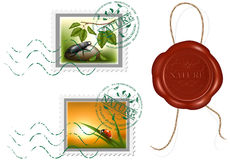 Postage stamp and wax seal. Protection of nature Royalty Free Stock Image