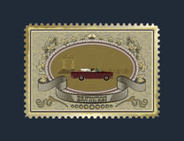 Postage stamp for wedding invitations. Postage stamp with a picture of the newlyweds who go to an expensive car, a gazebo in the distance Stock Photos