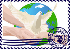 Postage stamp. A white dove Royalty Free Stock Images