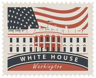 Postage stamp with White House and flag USA. Postage stamp with inscriptions and the image of the US Capitol in Washington DC. Vector illustration White house in Stock Photography