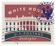 Postage stamp with White house in Washington DC Royalty Free Stock Images
