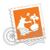 Postage stamp with witch's silhouette stock illustration