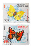 Postage Stamps. Mongolian postage stamps with the image of a butterfly. Home Collection Royalty Free Stock Images