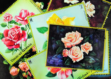 Postage stamps. Old postage stamps with rose motif stock images