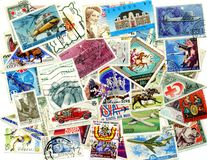 Postage stamps. A lot of stamps on a white background stock image