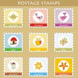 Postage stamps. Set of 9 postage stamps Royalty Free Stock Image
