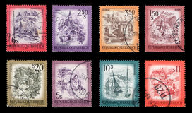 Postage Stamps. (isolated on black backgroun royalty free stock image