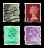 Postage Stamps. Queen Elizabeth (isolated on black stock image
