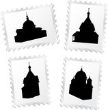 Postage stamps 4. Churches stock illustration