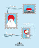 Postage stamps of Asia destination scene. Stock Photography