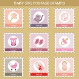 Postage stamps with baby girl objects. Set of 9 postage stamps with baby girl objects Stock Images
