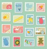 Postage stamps with baby theme. Sweet baby themed postage stamps for baby shower cards Royalty Free Stock Images