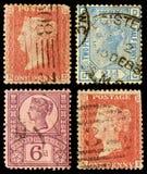 Postage Stamps Britain Queen Victoria. Queen Victoria Postage Stamps from Britain, circa 1854 to 1880 Stock Photos