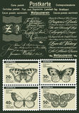 Postage stamps. Butterfly, moth isolated. Insect realistic. Fauna. Postcard. Engraving, drawing nature. Vintage illustration. Postage stamps depicting Royalty Free Stock Image