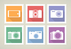 Postage stamps with cameras Stock Images