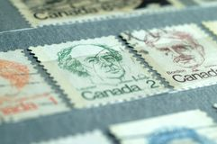Postage stamps of Canada of the twentieth century stock image