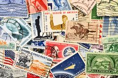 Postage stamps. Cancelled US postage stamps 1960's Royalty Free Stock Photo