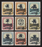 Postage stamps with coffee beans Royalty Free Stock Image