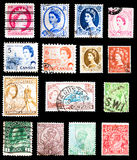 Postage Stamps - Commonwealth of Nations. Postage stamps from the Commonwealth of Nations: Canada, Great Britain, Malta, Cyprus and India depicting: Queen Royalty Free Stock Photography