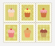 Postage stamps with decorated cupcakes.  Royalty Free Stock Photo