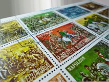 Postage stamps - Detail. Postage stamps. Series marks from the Napoleonic Wars motif. Signs are on a white background royalty free stock photo