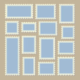 Postage stamps different size in blue and white Royalty Free Stock Photo