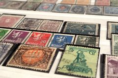 Postage stamps of European countries of the twentieth century. Selective focus royalty free stock images