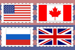 Postage stamps with flags Stock Photography