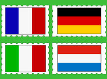 Postage stamps with flags Royalty Free Stock Photography