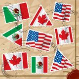 Postage stamps with flags Stock Images