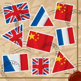 Postage stamps with flags Royalty Free Stock Images
