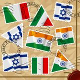Postage stamps with flags Stock Photo