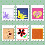 Postage stamps with flowers Stock Image