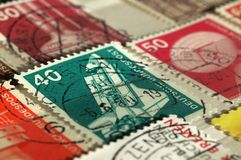 Postage stamps of Germany of the twentieth century. Shallow depth of field stock photos