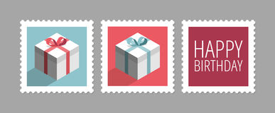 Postage stamps with gifts Stock Images
