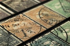 Postage stamps of Hungary of the early twentieth century. Shallow depth of field stock images